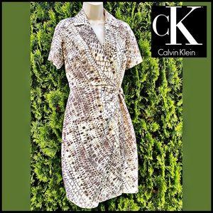 CALVIN KLEIN SNAKESKIN PRINTED FAUX WRAP DRESS 4